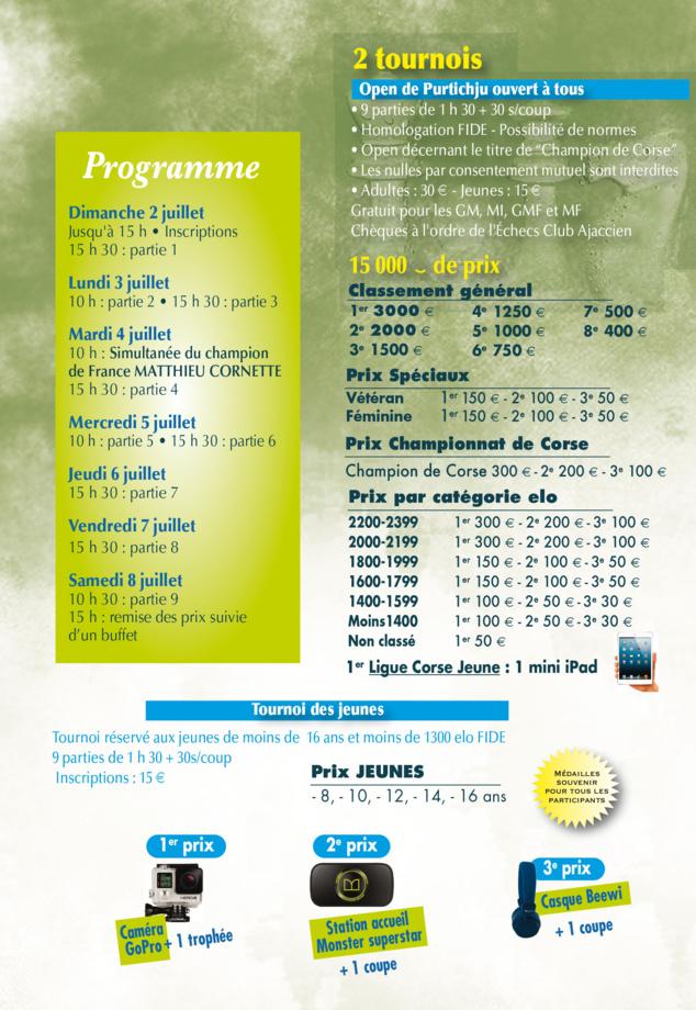 4e Open International de Purtichju du 2 au 8 juillet 2017