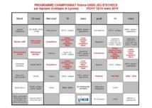 Le programme des championnats