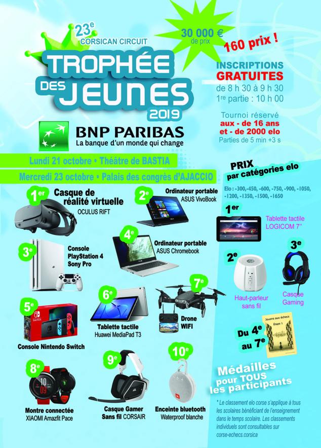 Trophées des Jeunes BNP PARIBAS le 21 octobre à Bastia et le 23 à Aiacciu