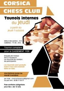 Reprise des tournois fermés au Corsica Chess Club