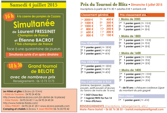 Attention le Tournoi de Belote de Ciamannacce aura lieu le Samedi à 18h30