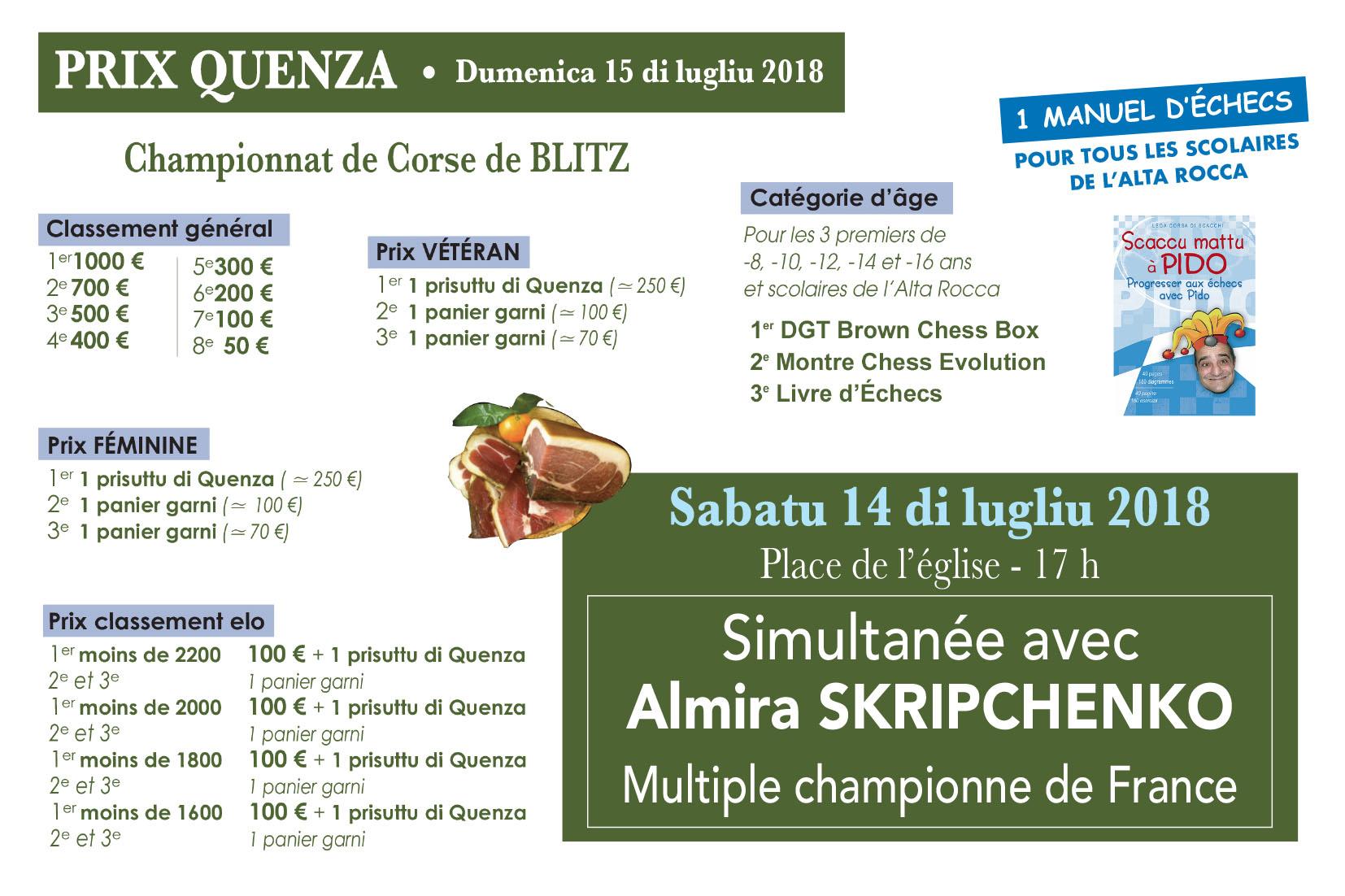 10u Open di Quenza, Simultanea, serata culturale, Mega Blitz e finale di a cuppa di u mondu !