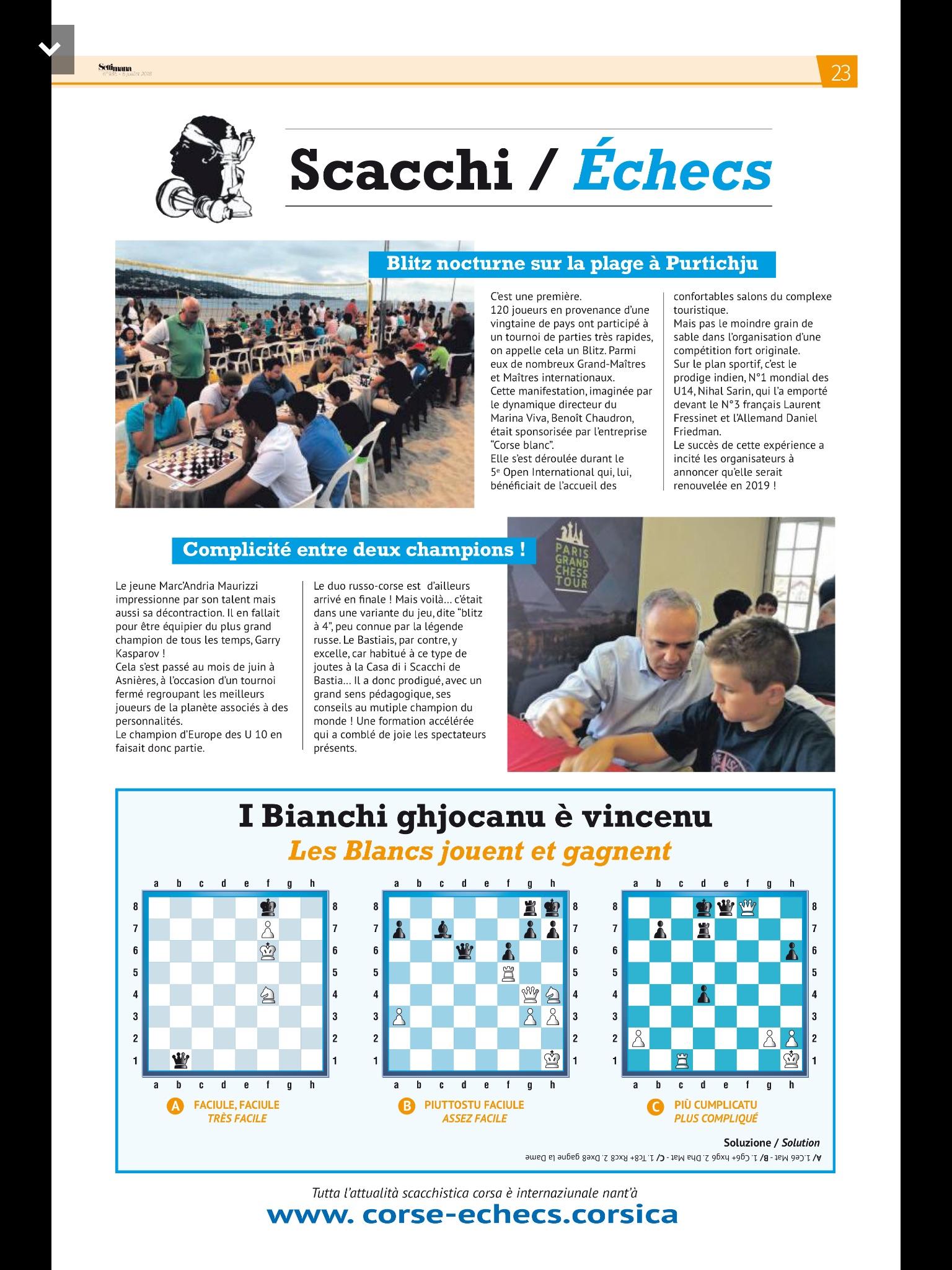 """""""Settimane"""", son N°I consacré à l'équipe Kasparov-Maurizzi et au Blitz Plage !"""