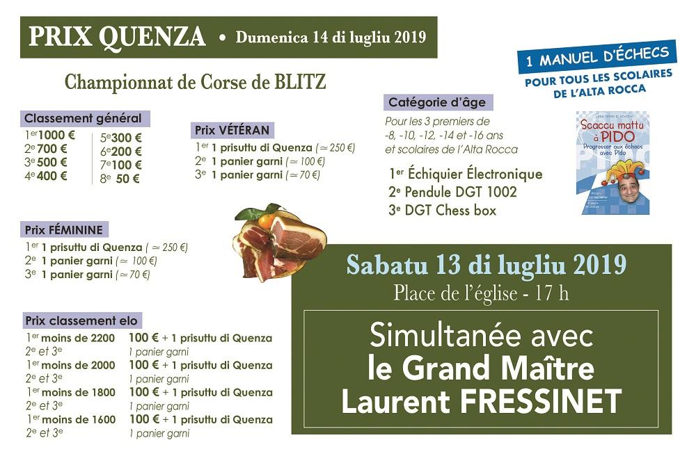 Laurent Fressinet l'emporte à Quenza devant Van Wely. Saveriu Battesti champion de Corse de Blitz