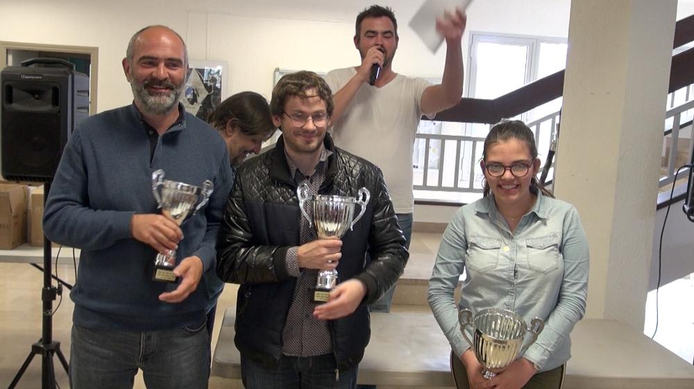 Antoine Cristofari 3e, Ludovic Utrera 2e et Elise Tomasi 1ere de ce 1er Open des vins de Lecci