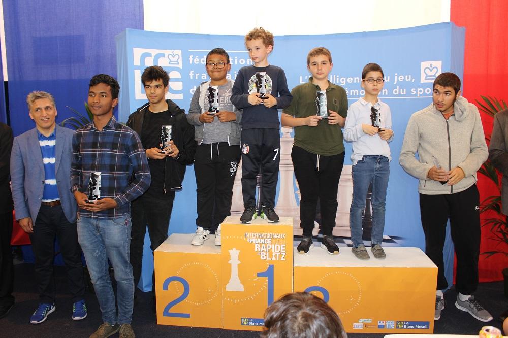 Les 7 nouveaux champions de France Jeunes de parties rapides U8 à U20