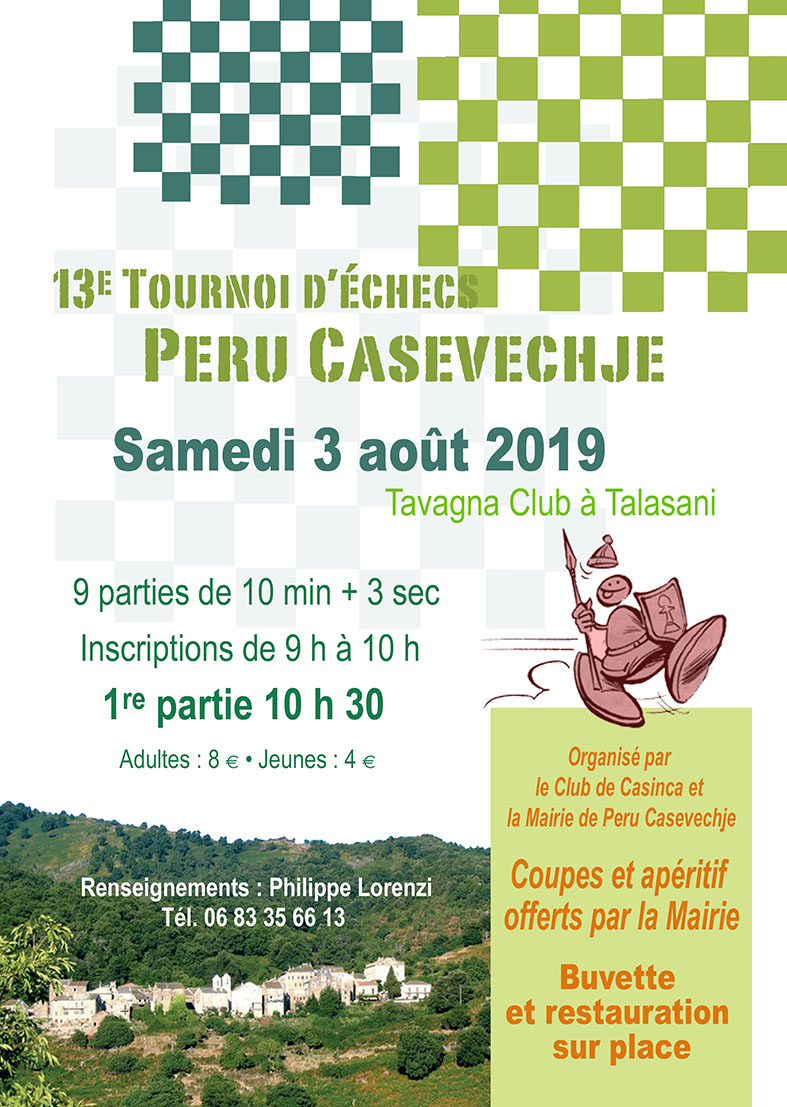 "Peru Casevechje accueille son 13e tournoi ""Rapide"" samedi 3 Août"