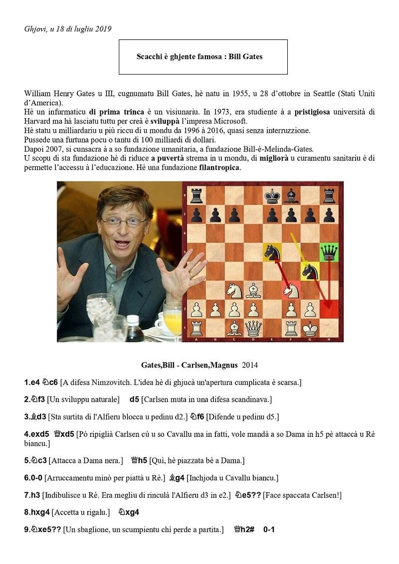 Stasgiu di scacchi in lingua nustrale di lugliu : « scacchi è ghjente famosa »