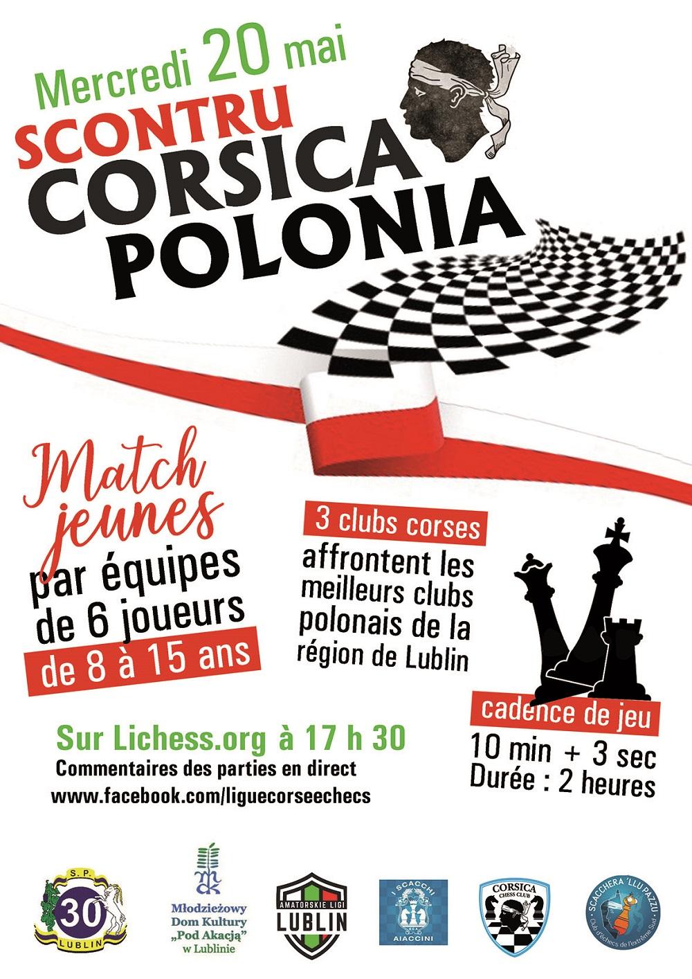 Victoire du Corsica Chess Club dans le tournoi par équipes U15 entre Lublin et la Corse