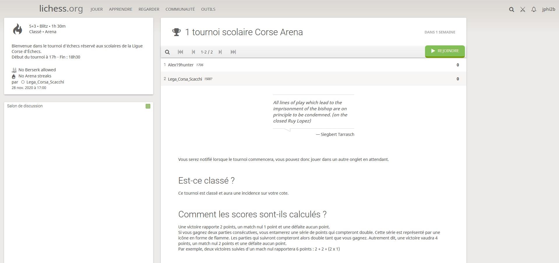 1er tournoi scolaire sur internet de la Ligue Corse des Echecs
