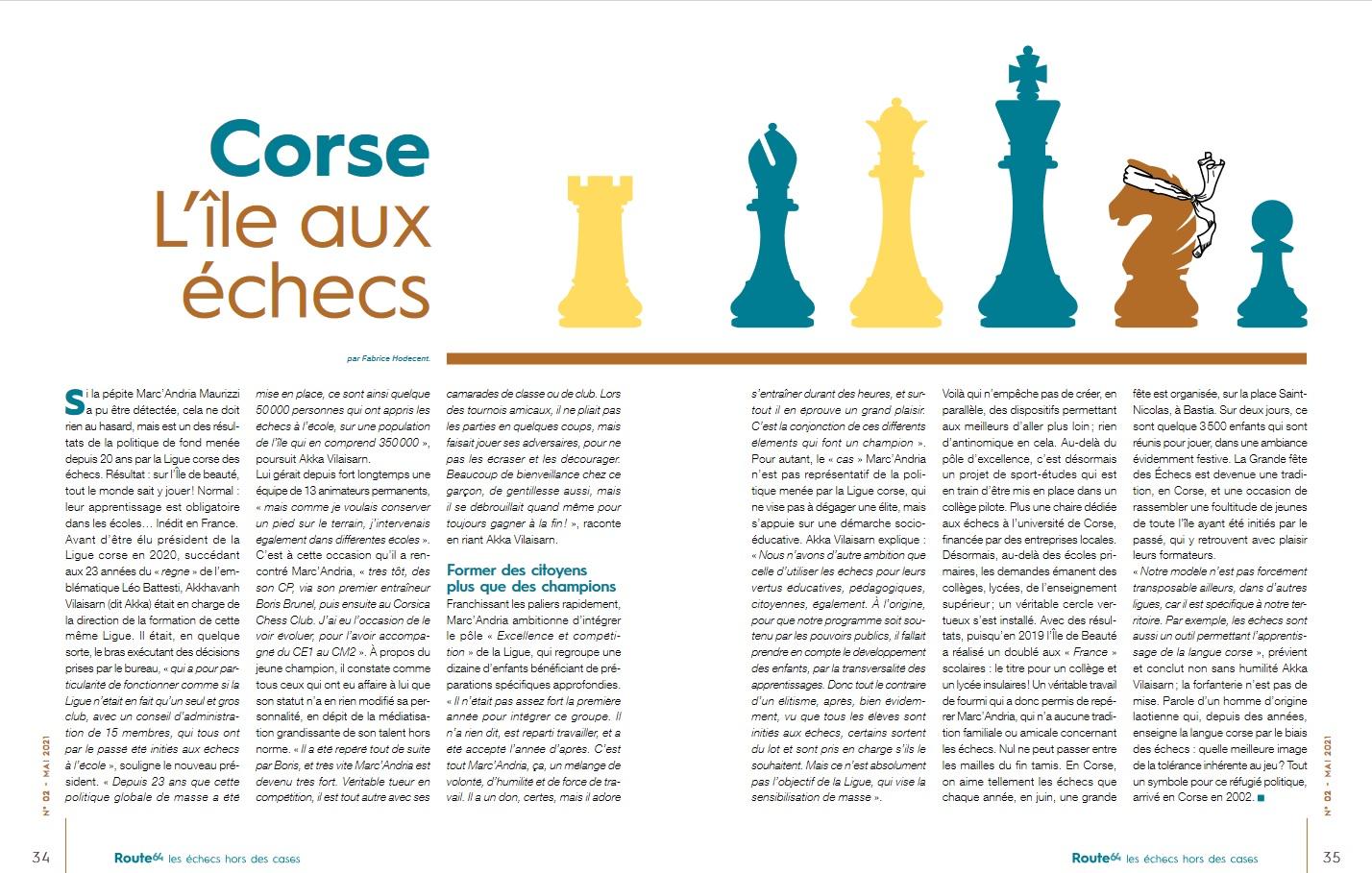 La Ligue Corse des Echecs à l'honneur dans la revue « Route 64 » !