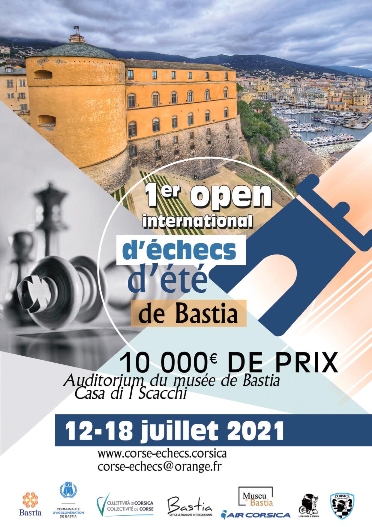 1er Open International d'été de Bastia du 12 au 18 juillet 2021 !