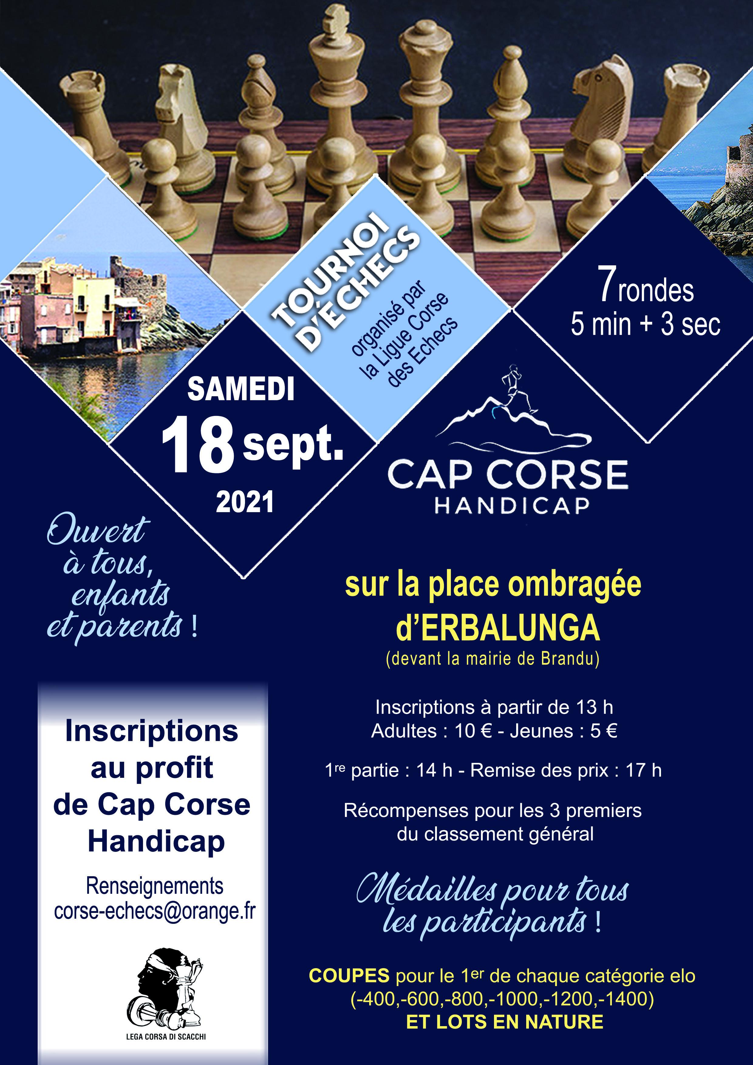 Open de blitz au profit de Cap Corse Handicap, samedi 18 septembre à Erbalonga