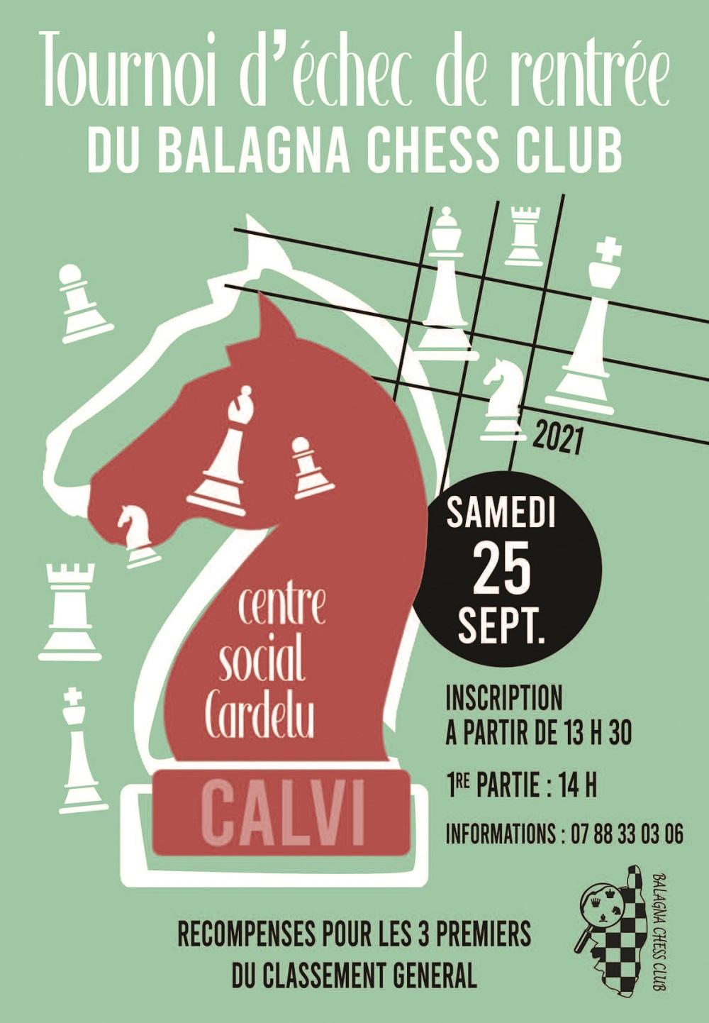 Tournoi de Blitz de rentrée du Balagna Chess Club ce samedi 25 septembre à Calvi