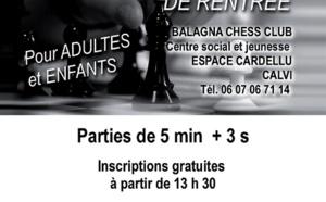 Tournoi de rentrée du Balagna Chess Club