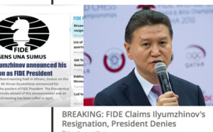 Le site de la #FIDE annonce sa démission, #Kirsan Ilyumzhinov dément !